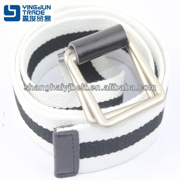 fashion man's casual white black fabric cotton double buckle belt