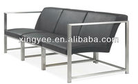 modern living room sectional sofa bench furniture stainless steel seat leather public waiting room bench seating long chair sofa