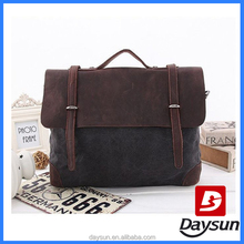 Cross Body Cotton Canvas mens leather messenger bag