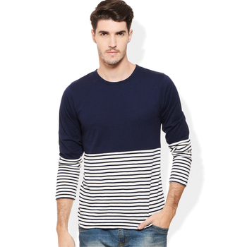 Smart fit navy white wholesale striped t-shirt t-shirt