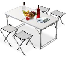 Tianye Outdoor Height Adjustable Folding <strong>Table</strong> with 4 Folding Chairs, Portable Camping Picnic Party Dining <strong>Table</strong>