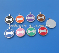 stainless steel round enamel bone silver dog tags