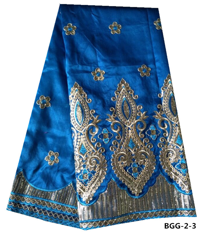 New design royal blue embroidery silk fabric george lace for dresses