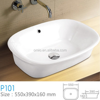 White color ceramic oval shape basin art lavabo