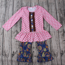 Children clothes suits Boutique Baby Girls fall winter Clothes dots tops and flower pants outfits