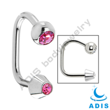 Dongguan Wholesale Crystal 16g Lip Ring Barbell Ear Bar Body Jewelry Circular Horseshoe Piercing