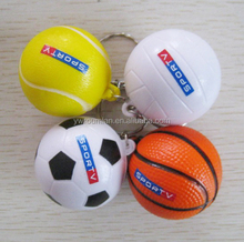 4cm diameter Cheap PU foam material Basketball Keyring ,soft PU Stress Ball Keychain,able to print you logo