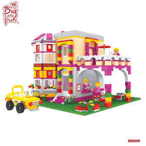 Princess villa plastic beautiful house model restaurant toys play house building blocks for girl