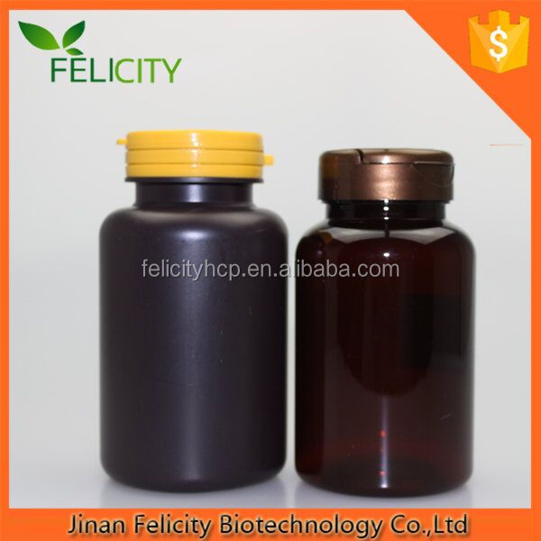 HDPE/PET 200cc dark amber PET Plastic Wide Mouth Packer Bottles with metal silver or Screw lid