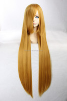 Hot sale high temperature fiber 100cm golden yellow long straight hair cosplay wig