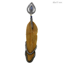 Bone Carving Feather Pendant, Pave Diamond Gemstone Jewelry