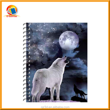 A4 A5 A6 school personalized notebook 3d note book of wolf picture/ notebooks with plastic cover