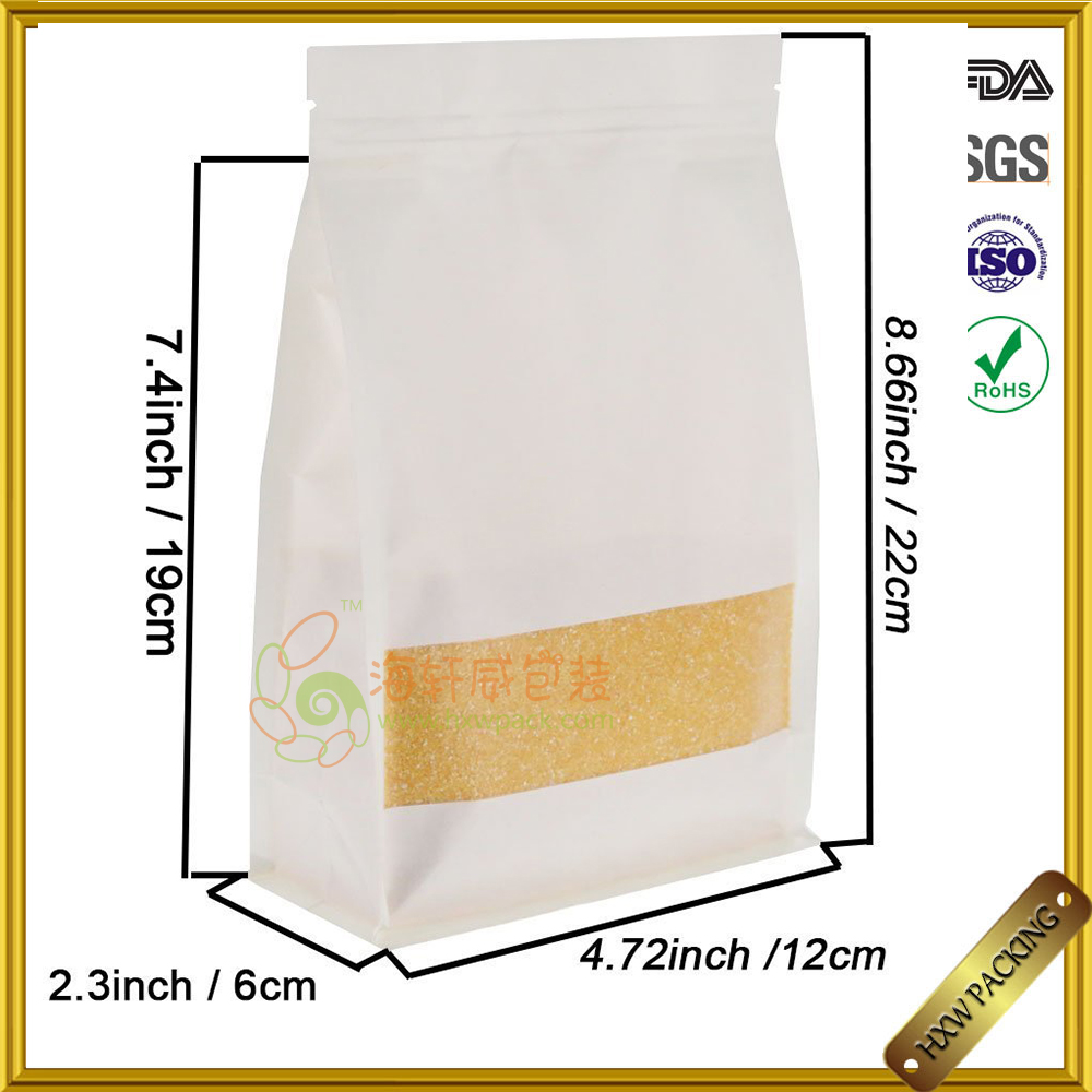 White Kraft Paper Bag, Stand-up,Zip Lock, Side-Gusset Sealing Pouch with Matte Window and Notch for Food Store