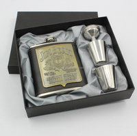 7oz logo printed stainless steel Hip Flask Gift Set For Alcohol with funnel wedding gifts men daniels whiskey