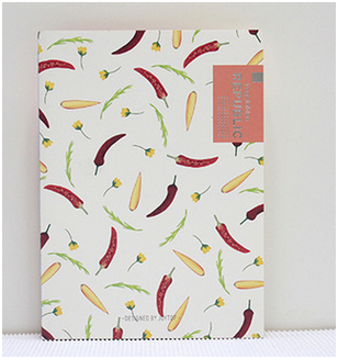 B5 student diary notebook, vegetables line notebook