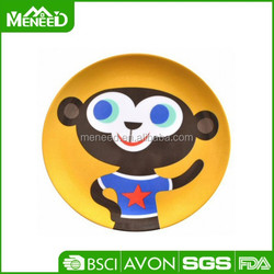 BPA free Good quality cartoon monkey printing round kids melamine plates