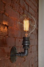 6.27-2 Industrial pipe wall lamp bulb Edison simple hand-tailored lamp
