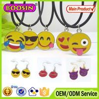 2016 BOOSIN Fashion custom metal jewelry, enamel emoji pendant necklace with rope/chain #B008