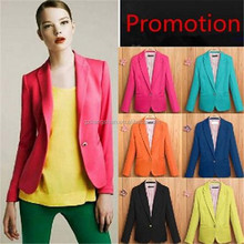 OEM service colorful blazers for women business suit coat formal wear one button OL candy color jacket