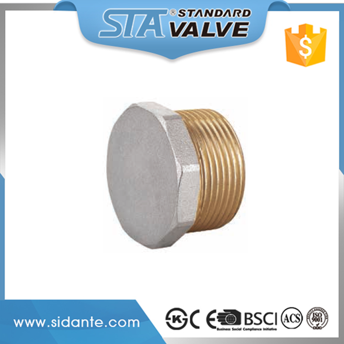 "ART.6005 China Factory Directly Supplier Hot Sale 1/2"" 3/4"" 1"" NPT Forged Male Threaded Brass Hex Head Pipe Fitting Plug/Cap"