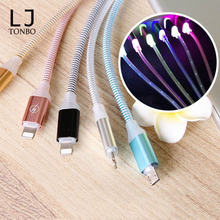 High quality PVC flowing LED USB cable Luminous Micro LED light Data Sync cord led charging cable for iphone 7