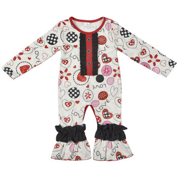 Valentines' Infant Ruffle Girls Boutique Clothing Wholesale Baby Romper