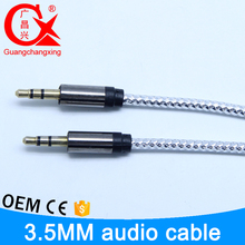 good quaility 1m silver color audio male plug waterproof stereo charger cable to dc 3.5 mm jack