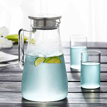 1.5L Hand made glass water carafe with stainless steel strainer lid, glass water jug
