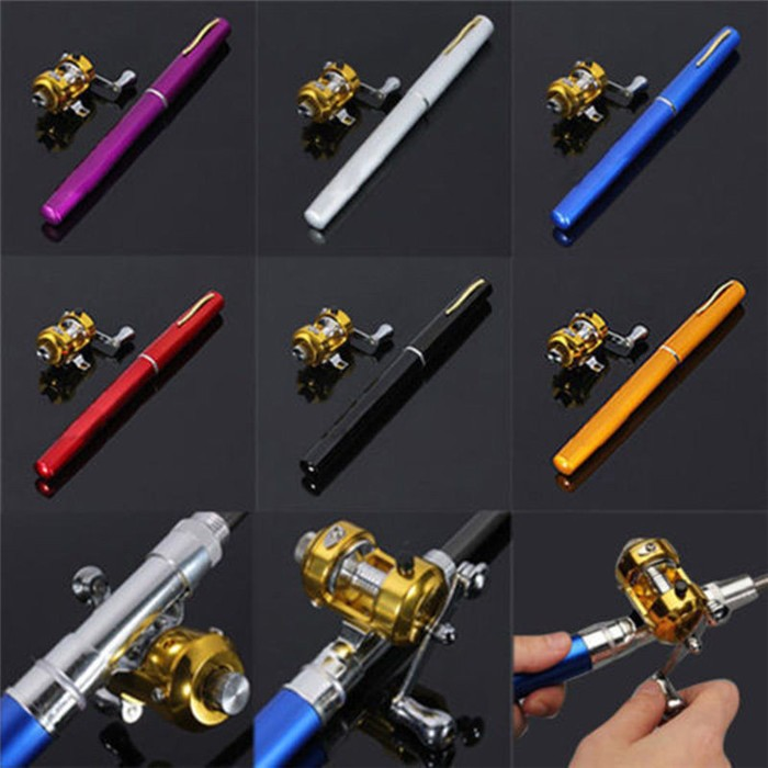 New arrivals!! Cheap Portable Beach Mini Fishing Rod and Reel Combo 1m Telescopic Fly Fishing Rod