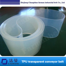 Thickness:2mm TPU transparent food grade conveyor belt, corrosion resistance, anti ultraviolet, have elastic