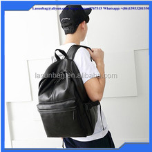 2016 Latest Fashion Black PU Leather School Backpack Boys Men Hiking Leather Backpack