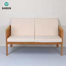 BAMBKIN Bamboo wood living room <strong>furniture</strong> double seat sectional sofa chair love seat sofa chair