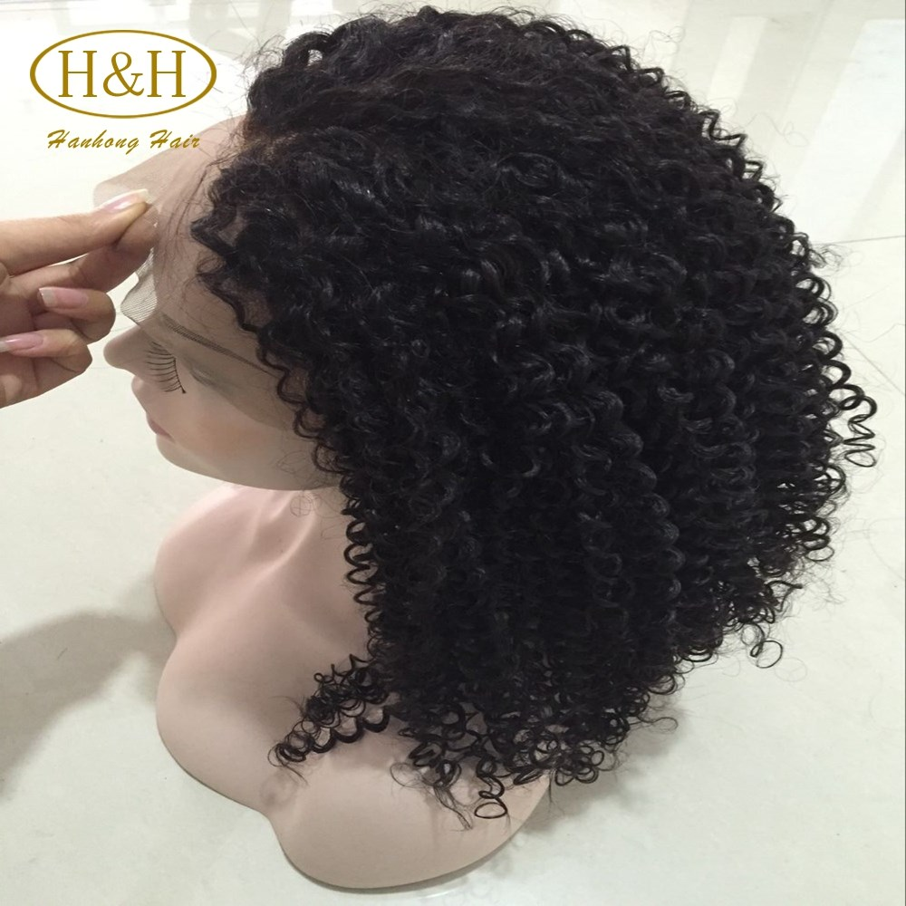 brazilian full lace front wig afro kinky curly human hair short wig yaki human hair wig