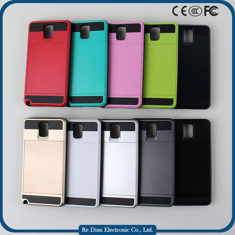 Low price China factory supplier TPU + PC mobile phone case cover with card slot for Samsung Note3