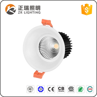 Trimless Aluminum lamp body housing non dimmable High Lumen High CRI round 12W COB LED Downlight spotlight
