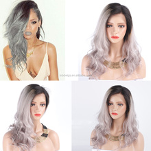 2016 New Fashion Brazilian Ombre Grey Human Hair Lace Front Wig with Dark Roots human hair grey lace front wig