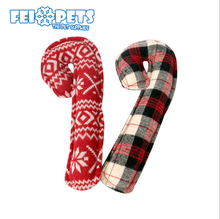 New design cane shaped plush squeaky christmas dog toys