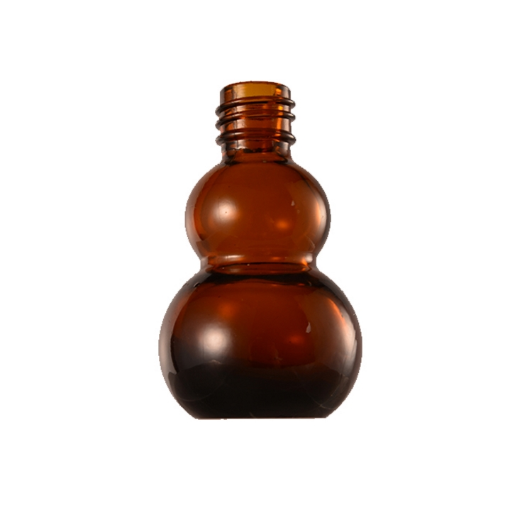 30ml amber gourd special shaped glass essential oil dropper bottle
