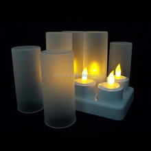 6pcs led rechargeable candle frosted cups yellow led indoor candle bridge light