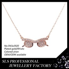 Fashion ladies silver jewelry glasses pendant neckless wholesale in China with rose gold plating (14/18/20k)