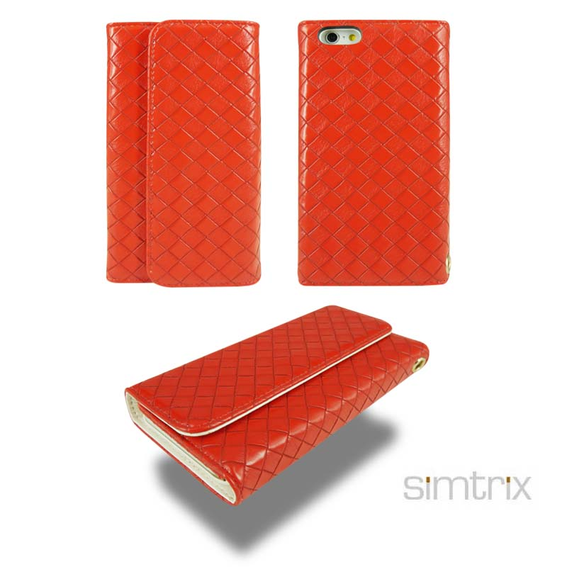 pu leather woven style three fold phone case with card holder