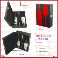Portable Wooden Box Bottle Pu Faux Leather Wine Carrier For Double Bottle
