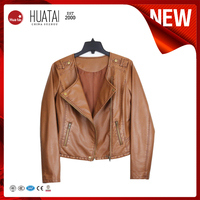 Fashion Motorcycle Women Leather Jacket for Wholesale