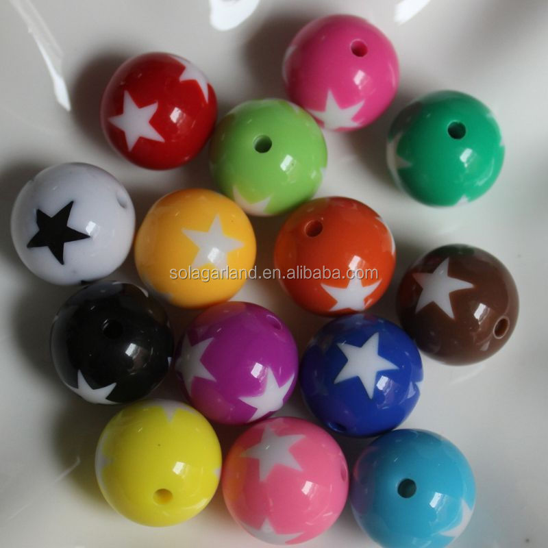 Chunky White Star Plastic Round Gumball Necklace Bubble Gum Resin Beads for Jewelry Making