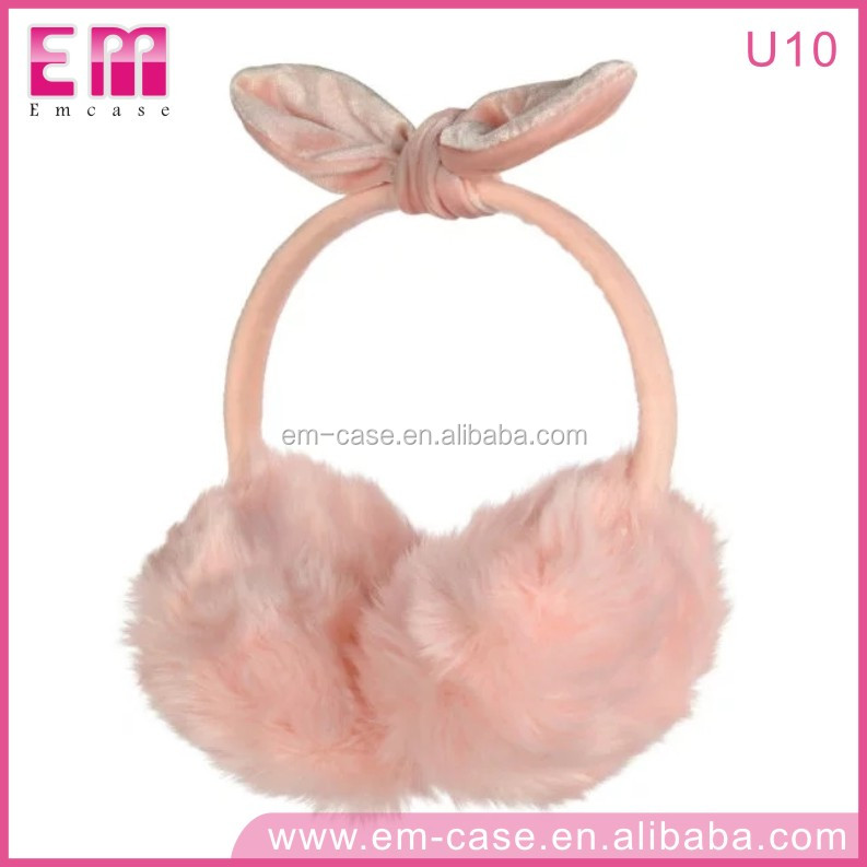 U10 Wireless Connection Fur Cover Earphone Earmuff Headphones With Microphone