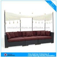 Cozy Rattan Furniture Garden Outdoor Sofa With Canopy
