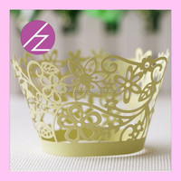 DG-38 hot sale happy flower laser cut cake wrappers/wraps/liners for wedding cake decorations