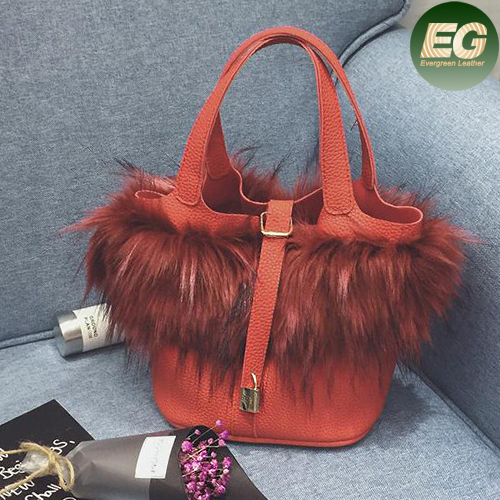 2017 latest fur deisgn lady handbag high quality PU leather women tote shoulder bags manufacturer in China SY8089