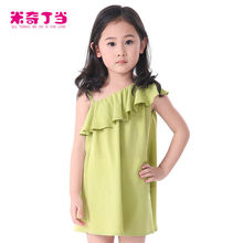 2014 Summer Korean Design Child Clothing 100% Combed Cotton Dress For Girl 5 Years Children Frocks Designs