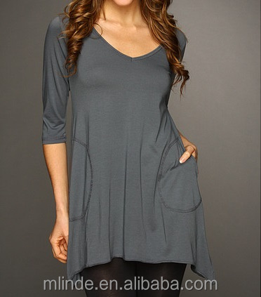 women 3/4 Sleeve V-Angled Tunic tops t shirt grey